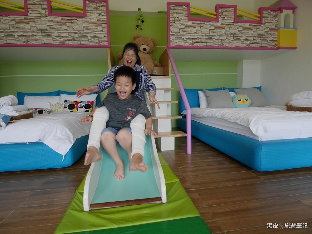 宜蘭親子民宿推薦。76親子民宿│給小孩打造一個小小城堡。溜滑梯房型、電動車,宜蘭冬山住宿